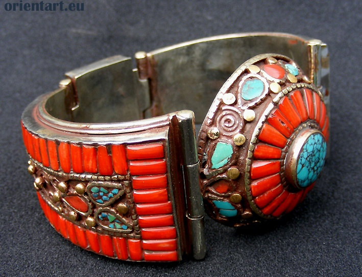 A Tibetan hand made bracelet | Sterling silver, coral and turquoise |Pinned from PinTo for iPad|