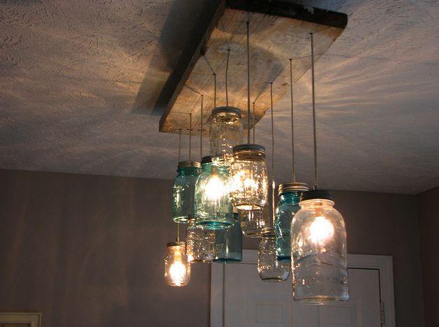 recycling: Kitchens, Dining Rooms, Ball Jars, Idea, Lights Fixtures, Canning Jars, Old Jars, Mason Jars Lights, Mason Jars Chandeliers
