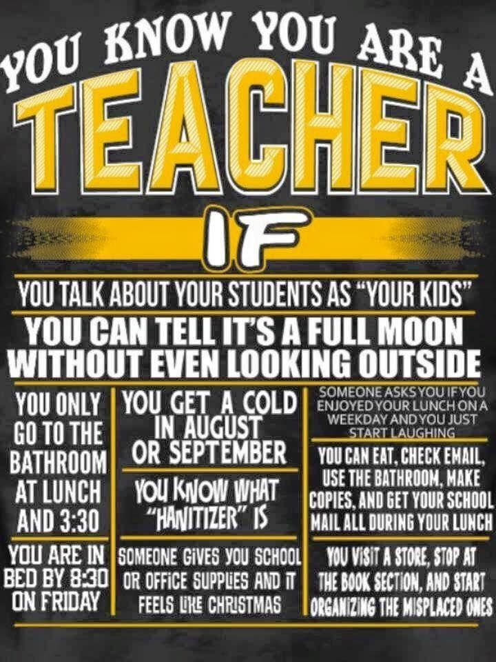 You might be a teacher if... Teacher jokes, Teacher