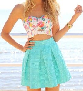 For a summer festival - floral tube top, crop top, with miniskirt.