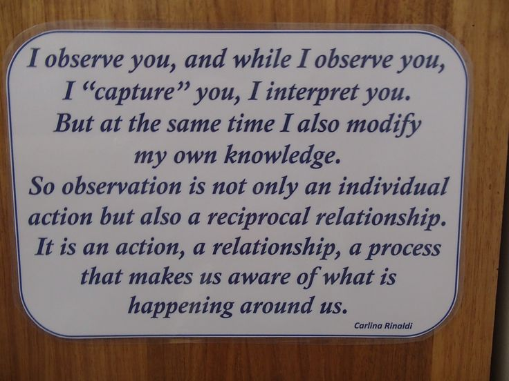 Quote from Carlina Rinaldi - what observation is all about from Working in the Reggio Way - Julianne Wurm