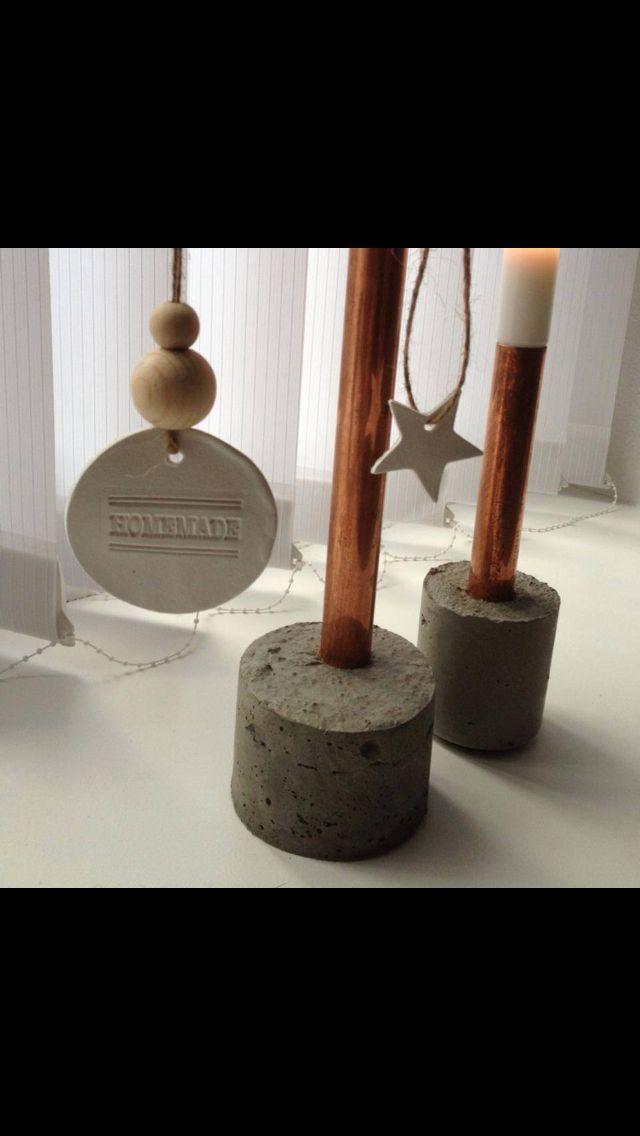 Cement støbt lysestager med kobber rør