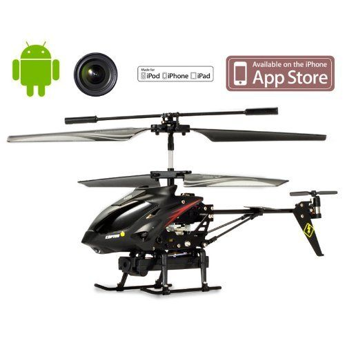 3.5CH RC Remote Control Helicopter with Camera Gyro 3.5 Channel S215 For iPhone / iPod Touch / iPad and Android by Loveseason. $43.99. Specification: Product size: 23.0*4.5*10.5 cm Box size: 51.0*8.5*19.0 cm Battery: 3.7V 240MAH Li-poly (Included) i-Helicopter charging time: 35mins by USB i-Transmitter charging time: about 1 hour Flying time: About 5-7 minute Controlling distance: about 10 meters Channel: A / B /C SD card memory: 2G(Included) Color: Black  Packa...