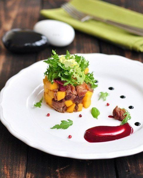 delicious salat with duck and mango.