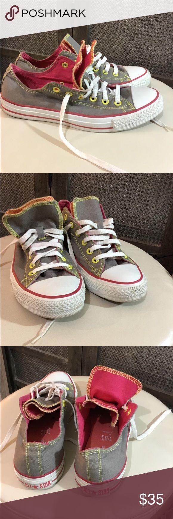 Converse double tongue low top shoe in gray & pink Converse double tongue low top shoe in gray & pink Women's 10, Men's 8 Converse Shoes Sneakers