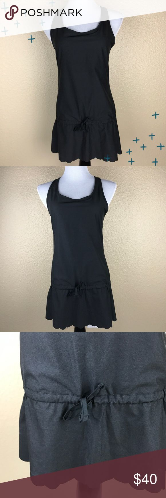 Lucy black scallop drawstring workout dress Small Lucy brand black workout tennis drawstring scallop dress. So cute and perfect for tennis or ruining errands in! Open to offers, no trades. Lucy Dresses Mini