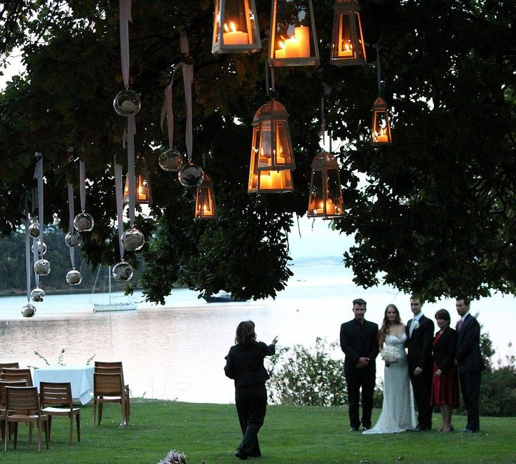 Candles and lanterns at stackings tree Peppermint Bay
