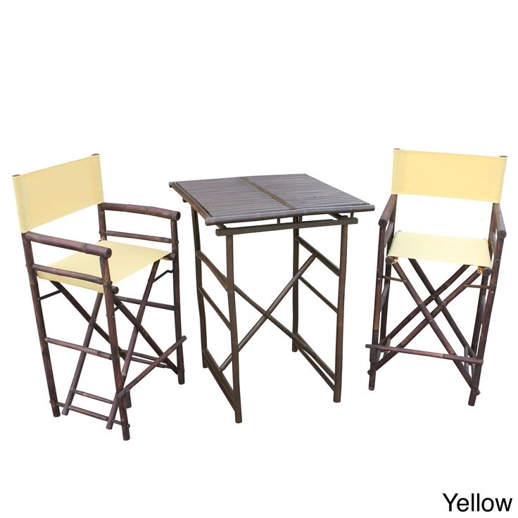 Zew Hand Crafted Square Espresso Bar Height Pub Set (Yellow) (Wood)