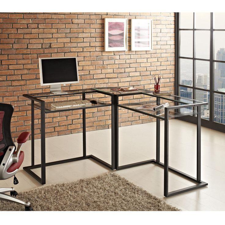 Black Metal Glass Corner Computer Desk Furniture Office