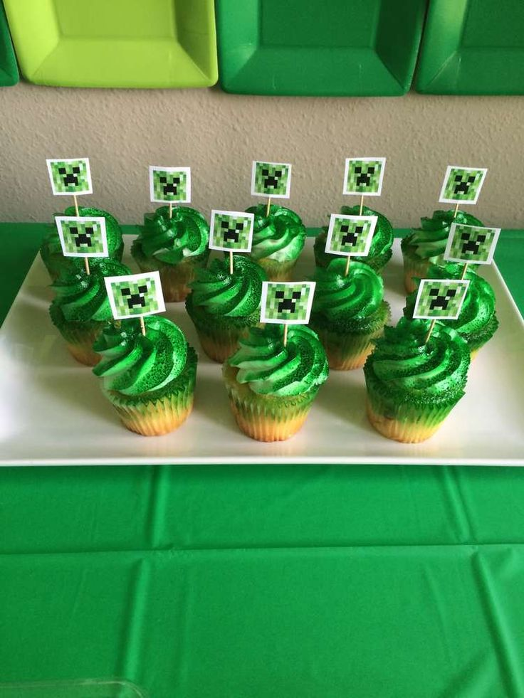 Creeper cupcakes at a Minecraft birthday party! See more party planning ideas at CatchMyParty.com!