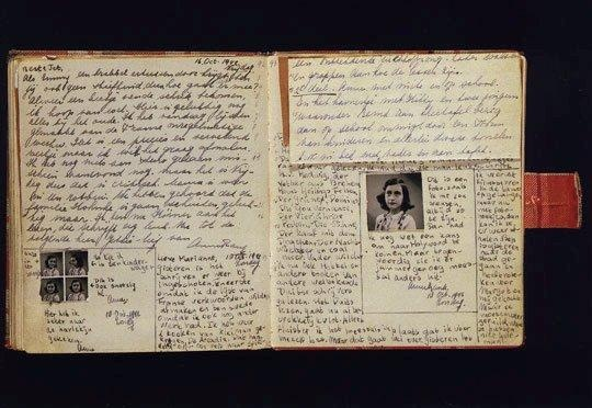 An open page of the actual diary of Anne Frank. Never doubt the power of the written word !