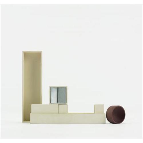 Bruno Munari  Canarie desk set  Danese  Italy, c. 1958  melamine, aluminum  9.75 w x 2.75 d x 2.75 h inches