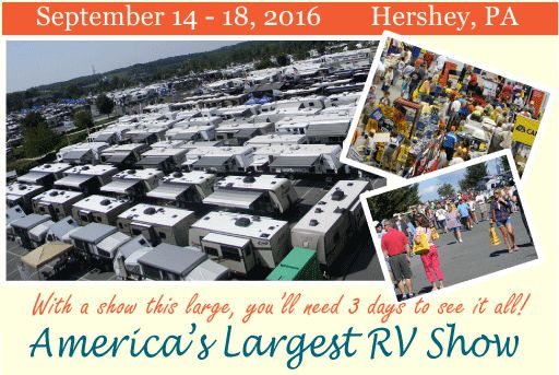 America's Largest RV Show September 14-18, 2016 Hershey, PA - tickets and accommodation info