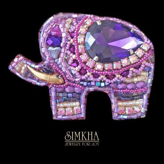 Brooches handmade. Livemaster - handmade. Buy Brooch 'Elephant'.Festive decoration, gift, handmade, cranberry, elephant, metal, beads, beads