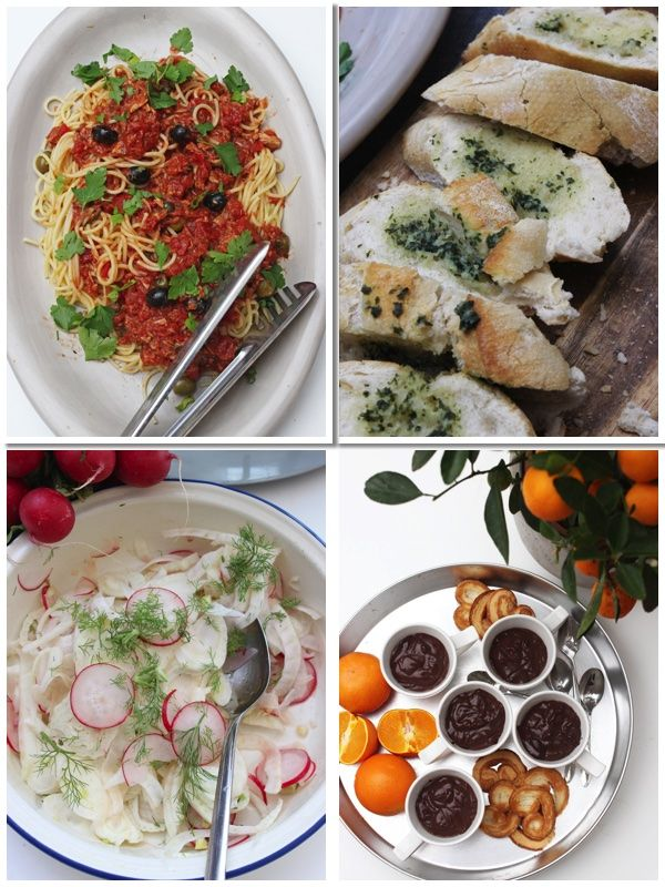 Spaghetti Alla Puttanesca Fenchel Radieschen Salat Knoblauchbrot