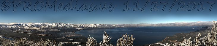 Lake Tahoe, U.S.A. panoramic archival print. Approximately 93 inches wide, 20 inches high photographic print.