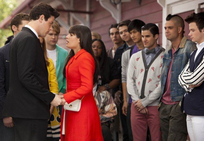 Still of Cory Monteith, Lea Michele, Matthew Morrison, Mark Salling, Jayma Mays, Dianna Agron, Darren Criss, Chris Colfer, Amber Riley, Chord Overstreet and Samuel Larsen in Glee.