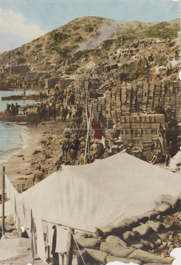 Anzac Cove and New Zealand Point, looking north. Gallipoli, 1915. ©Colarts Studios, Melbourne/State Library of NSW, Call PXD 481