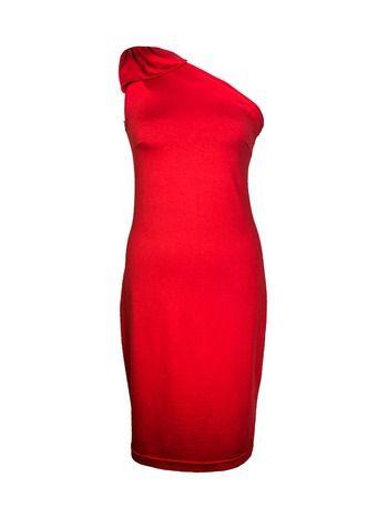 One-shoulder jurk rood met strik - Designed by Marjolein Elisabeth Een soepel vallende asymmetrische jurk met feestelijke strik op de schouder