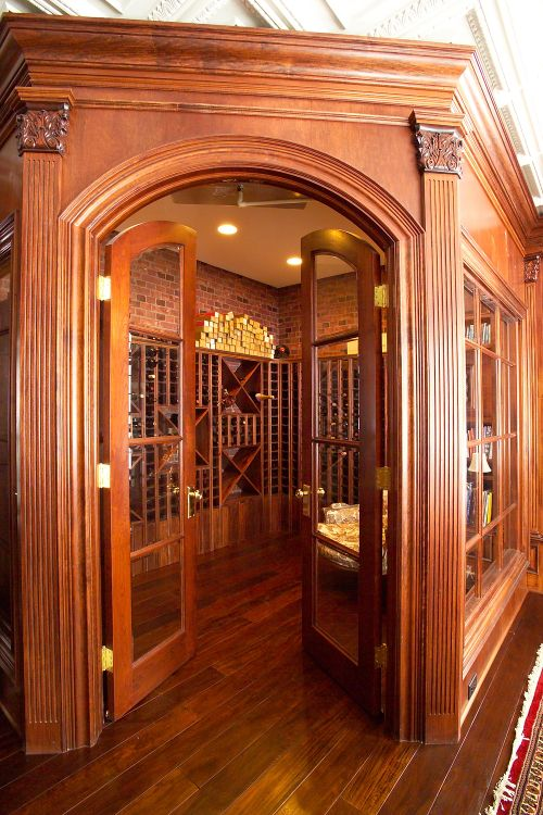 Custom Interior Glass French Doors Wine Room Entry