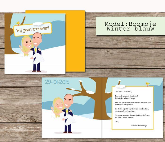 #custom # illustrated #wedding #invites  #trouwkaarten op maat #maatwerk #cartoon #tekening van jezelf nagetekend op een trouwkaart. #winter