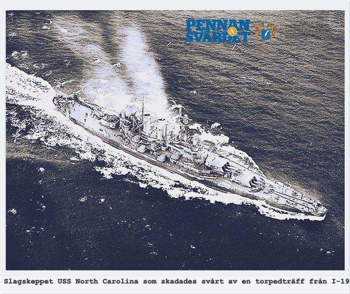 North Carolina var bland de första nya moderna slagskeppen  i tjänst i USA under 2:a världskriget & slagskepp som skickades till Stilla havet för att förstärka flottan som blev illa tilltygad i Pearl Harbor. Med en enda torpedsalva hade Kapten Kinashi slagit ut de viktigaste delarna i den amerikanska flottan i södra Stilla havet. Wasp & O'Brien gick till botten, medans North Carolinafick bogserades till Pearl Harbor för flera månaders reparationsarbete innan hon kunde sättas in i striderna…