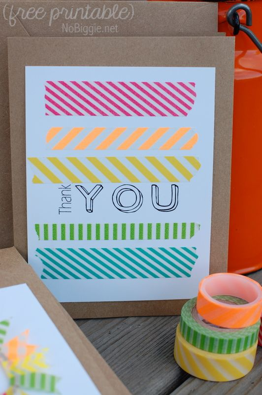 washi tape thank you card - NoBiggie.net