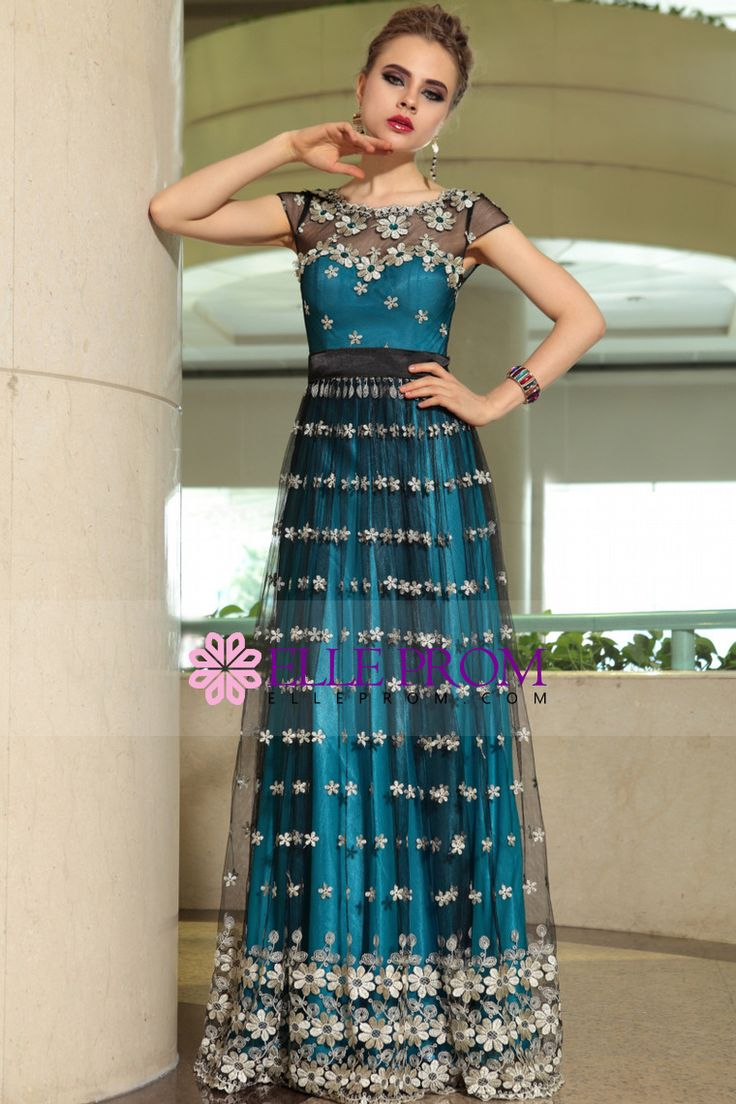 2014 Athens Style Scoop A Line Floor Length Tulle Dresses #30899 (Color Just As Picture Show)