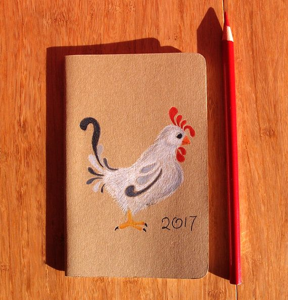Rooster Hand Painted Notebook  Chinese New by KelliMcNicholsArt