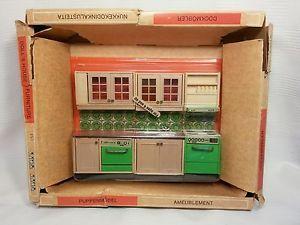 Vintage 70s Lisa Dollhouse Furniture Denmark Kitchen Set Cabinets   eBay