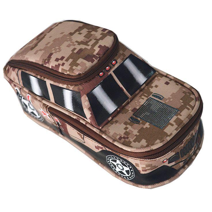 Portable Oxford Camuflaje Fresco Coche Jeep Estilo Caja de Lápiz grande bolso de la Bolsa Titular de La Pluma Fuente de Escuela para Niñas de color al azar