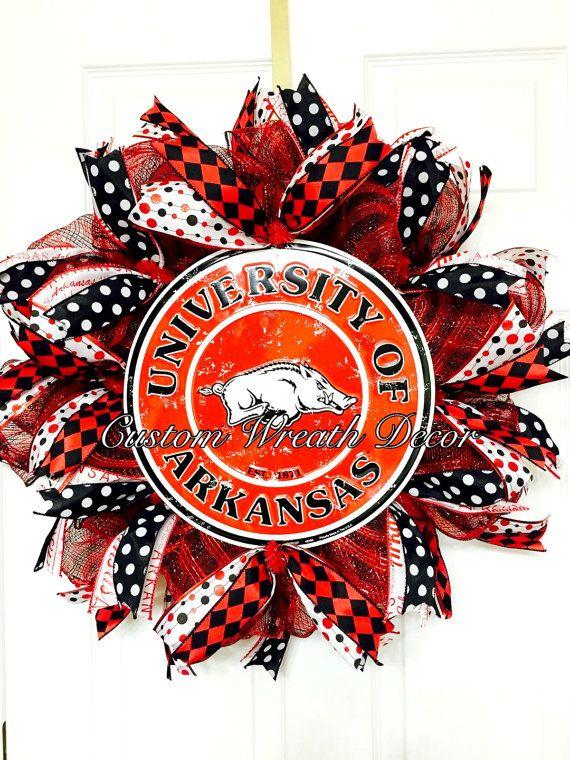 Arkansas Razorback Wreath by CustomWreathDecor on Etsy