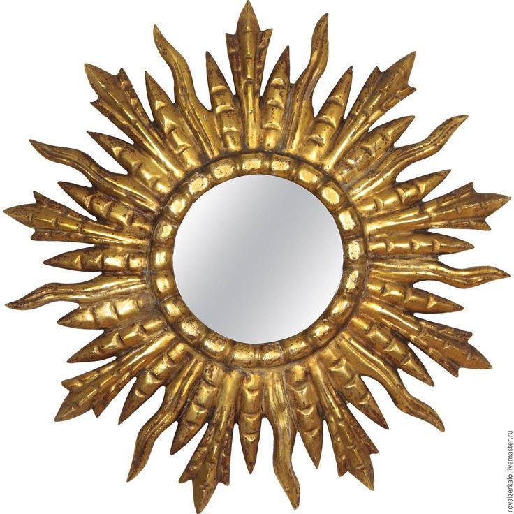 Купить Зеркало солнце Barcelona - золотое зеркало, зеркало настенное, зеркало ручной работы