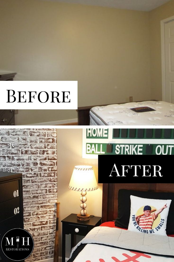 Baseball Room Makeover Step By Step Guide Market House Restorations Room Makeover Baseball Room Faux Brick Walls