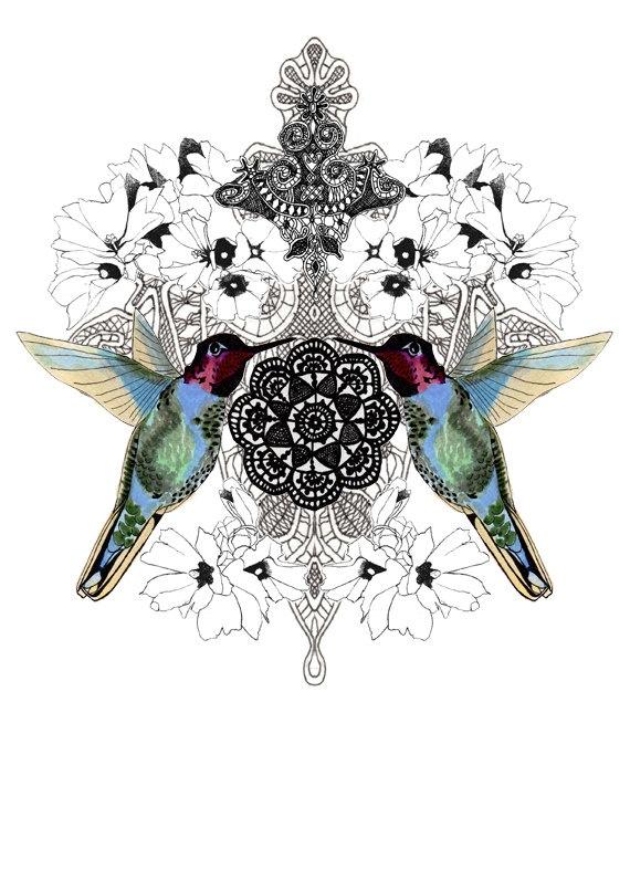 original illustration art print - hummingbird and flowers.