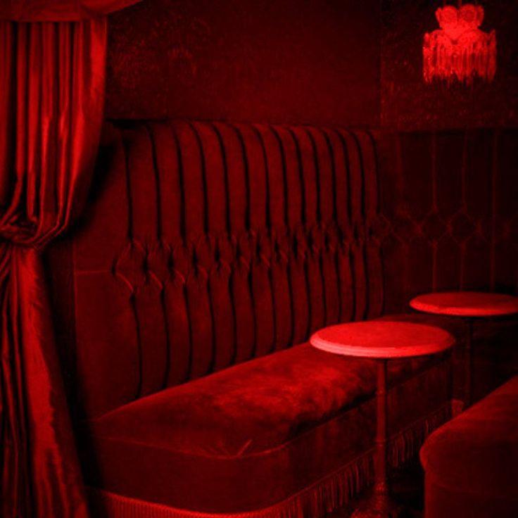 @morgangretaaa red light tables curtain velvet cushion seat hanging lamp light