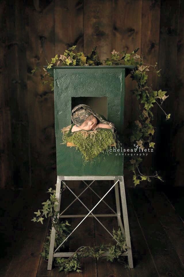 Love the deer stand new born pics