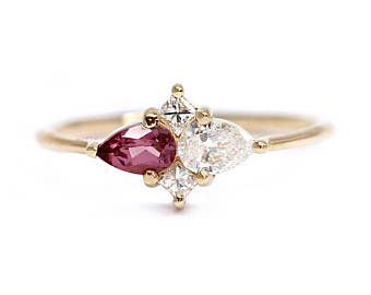 Red Garnet Cluster Ring... Use this design but with our birthstones as the large stones and the boys' birthstones as the diamonds