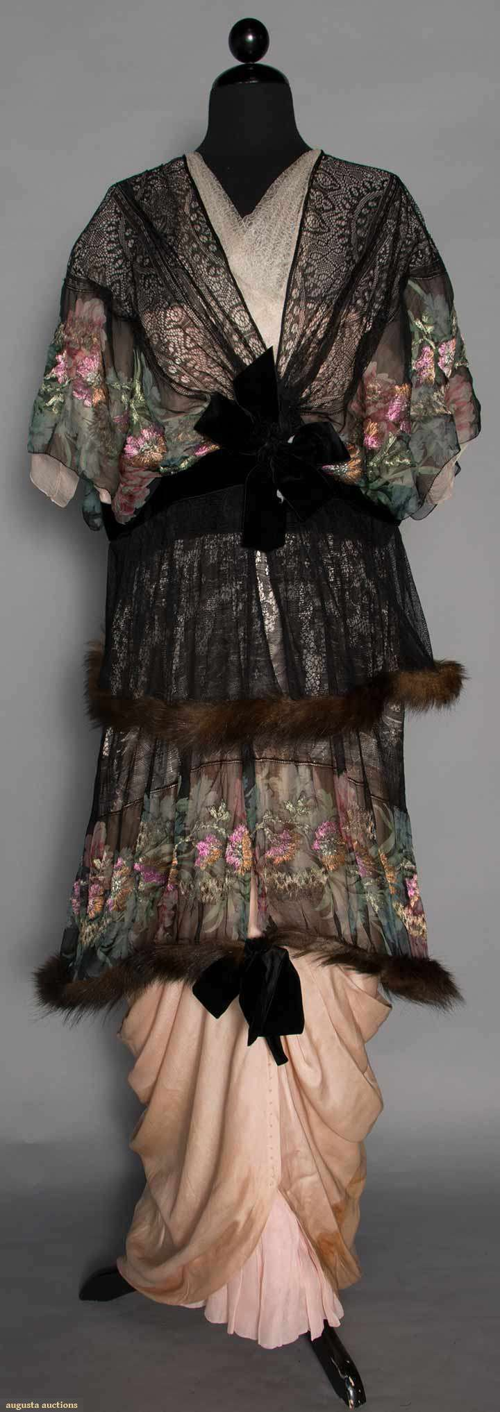Printed Lame Evening Gown, C. 1913. For upcoming vintage and antique fashion and textile auction.