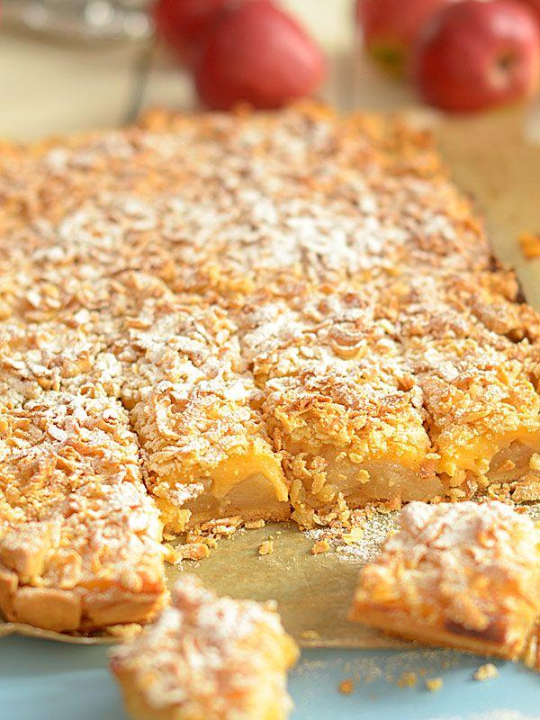 Szarlotka na niedzielę - z prażonymi jabłkami i budyniem waniliowym - ciasto bez cukru - najlepsza :)