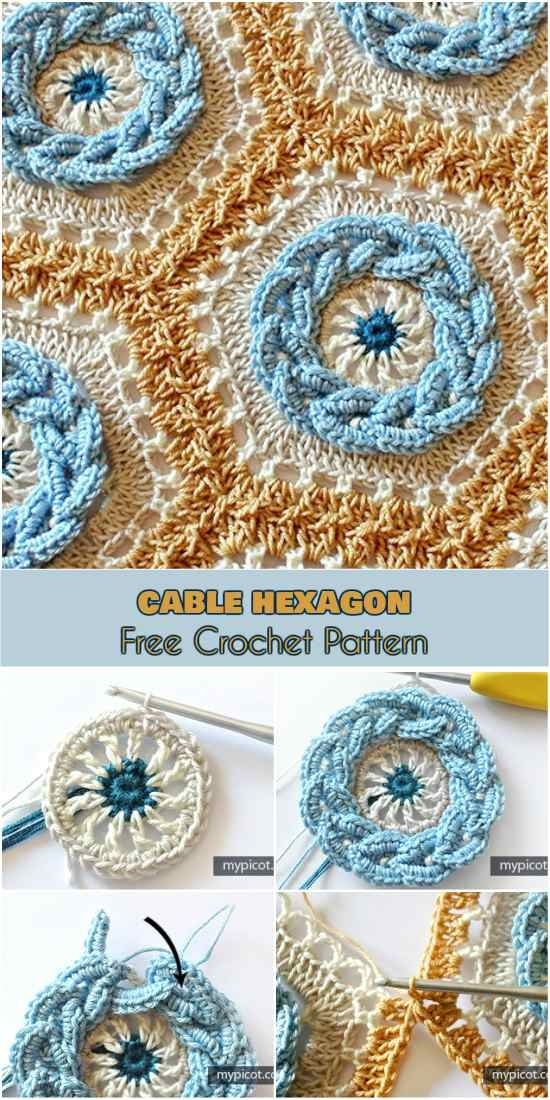 [Rosette] Cable Hexagon for Afghans, Baby Blankets and Throws -  Free Crochet Pattern - ONLY FREE crocheting patterns for Amigurumi, Toys, Afghans, Baby Blankets, New Stitches and Tutorials and many more!