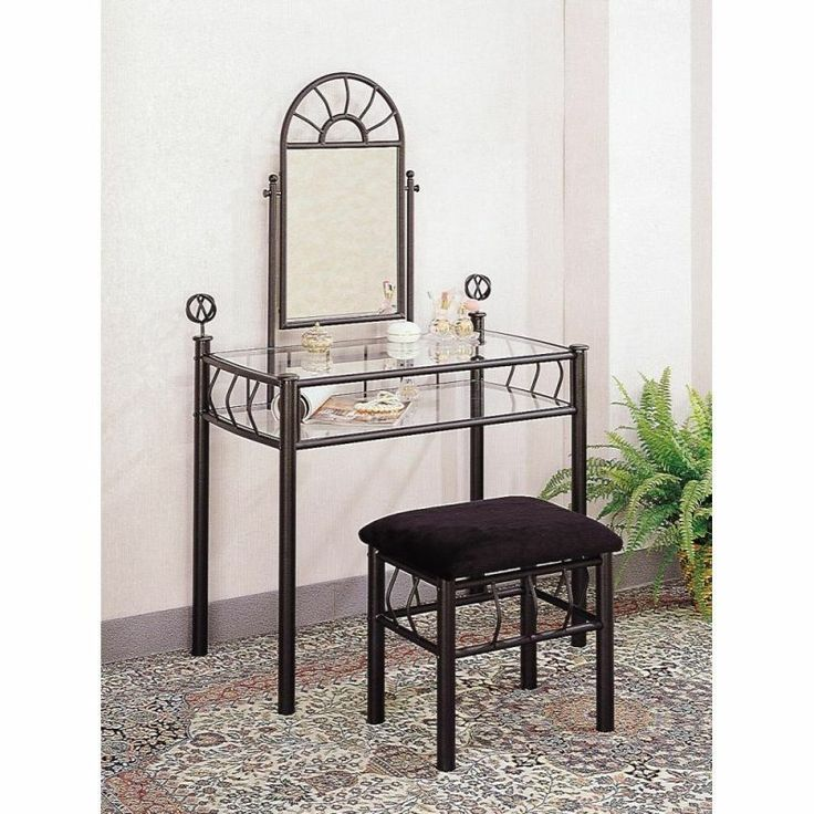 Best Coaster Vanity Table Set In Black Wrought Iron Coaster 640 x 480