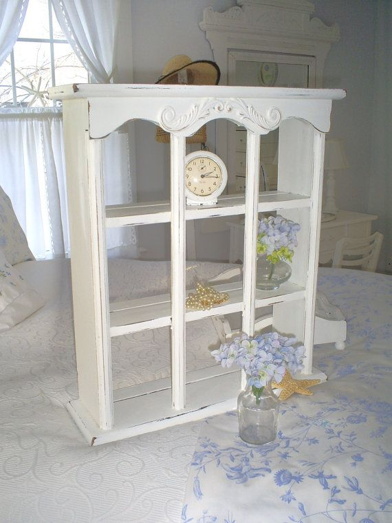 Vintage shabby chic shelf    white  furniture by backporchco