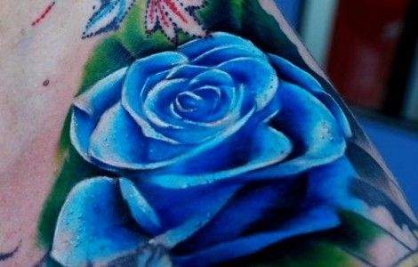 blue rose tattoos