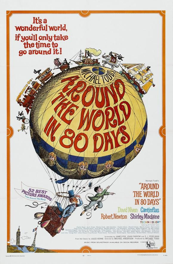 Around the World in Eighty Days (1956) A Victorian Englishman bets that with the new steamships and railways he can circumnavigate the globe in eighty days. Directors: Michael Anderson, John Farrow  Writers: James Poe (screenplay), John Farrow (screenplay)  Stars: David Niven, Cantinflas, Shirley MacLaine #cantiflas #cinema #peliculas #world #days