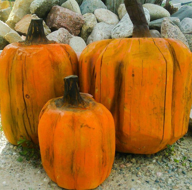Wood Pumpkin Fall Decor - chainsaw carving - set of three chainsaw carved rustic fall decor pumpkins pumpkin wood pumpkin wood carving (120.00 USD) by woodZwayz