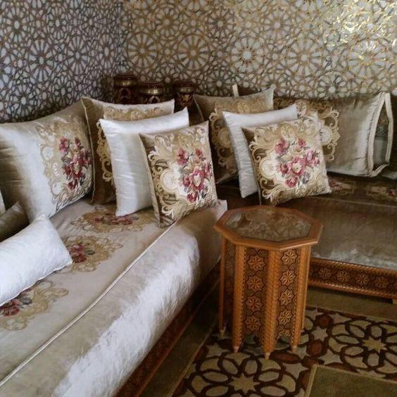 Salon marocain beige blanc cassé – Amenda decor