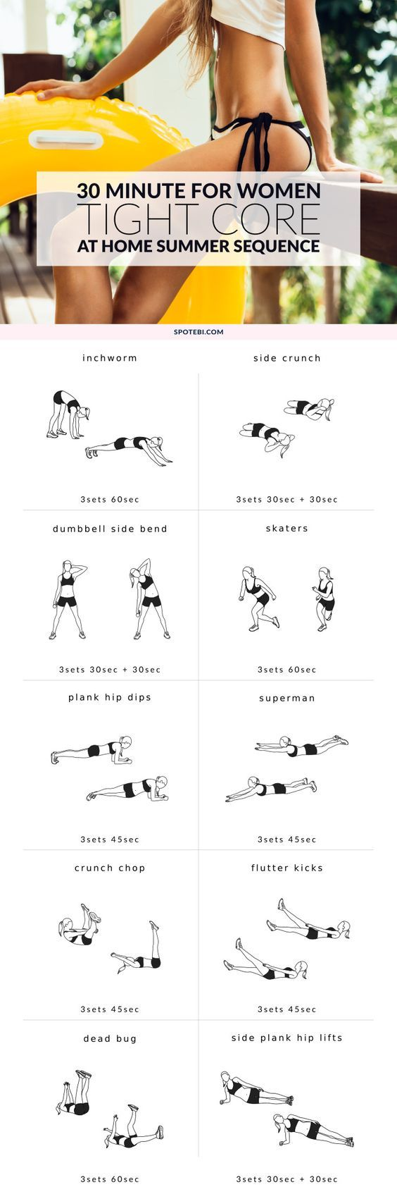 To get a toned belly and a small waist, women need to target all layers of muscles and hit the midsection from different angles. This Tight Core Summer Workout is designed to cinch your waist, strengthen your core and give you a tighter tummy! http://www.spotebi.com/workout-routines/30-minute-tight-core-summer-workout/