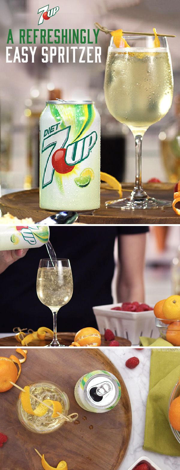 7UP White Wine Spritzer: Add a little sparkle to white wine with the light, citrus taste of 7UP. Mix it up for girls' night, a cocktail party or just because. Must be 21+ Please drink responsibly. Age Verification Required.