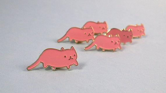 Pink Cat émail épinglette - goupille de chat Cat broche - émail - émail - j